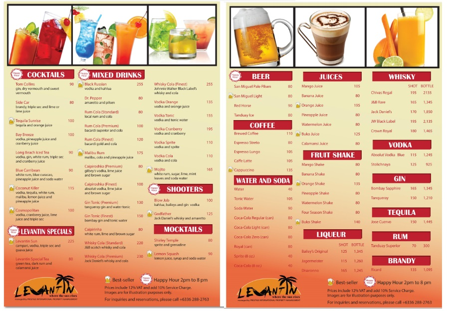 Drinks menu levantin boracay for Food bar menu